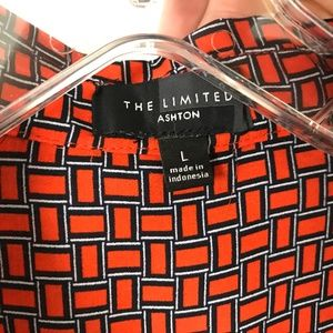 The Limited Tops - The Limited Ashton Orange and Navy button up